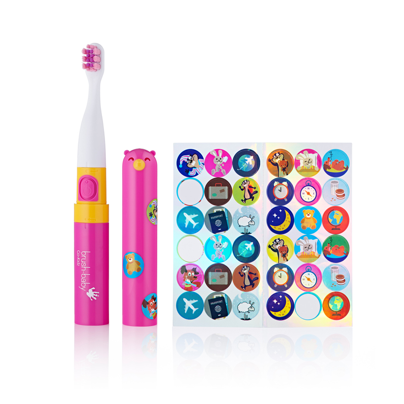 Brush Baby Go Kidz - Electric Travel Toothbrush - Pink